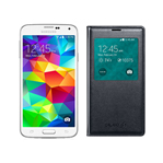 Samsung GALAXYS5-WHITE + GALAXYS5SVIEWCOVER-BLACK Unlocked GSM Mobile