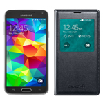 Samsung GALAXYS5-BLUE + GALAXYS5SVIEWCOVER-BLACK Unlocked GSM Mobile P